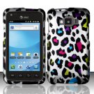 Hard Plastic Snap On Rubberized Design Case for Samsung Rugby Smart i847 - Rainbow Leopard