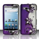 Hard Plastic Rubber Feel Design Case for HTC G2 (T-Mobile) - Silver and Purple Vines