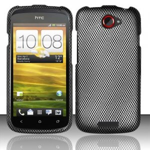 Hard Plastic Rubberized Snap On Design Case for HTC One S/Ville (T-Mobile) - Carbon Fiber