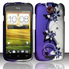 Hard Plastic Rubberized Snap On Design Case for HTC One S/Ville (T-Mobile) - Silver and Purple Vines