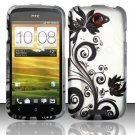 Hard Plastic Rubberized Snap On Design Case for HTC One S/Ville (T-Mobile) - Silver and Black Vines