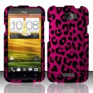 Hard Plastic 2-Piece Rubberized Snap On Design Case for HTC One X/Elite (AT&T) - Hot Pink Leopard