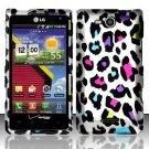 Hard Plastic 2-Piece Rubberized Snap On Design Case for LG Lucid 4G - Rainbow Leopard