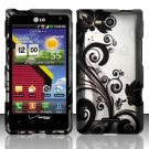 Hard Plastic 2-Piece Rubberized Snap On Design Case for LG Lucid 4G - Silver and Black Vines