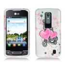 Hard Plastic 2-Piece (Snap On) Rubberized Design Case for LG Nitro HD - Floating Hearts