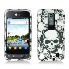 Hard Plastic 2-Piece (Snap On) Rubberized Design Case for LG Nitro HD - White Skulls