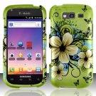 Hard Plastic Snap On Rubberized Design Case for Samsung Galaxy S Blaze 4G - Flowers & Butterfly