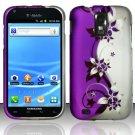 Hard Plastic Rubber Feel Design Case for Samsung Galaxy S II/Hercules T989 - Silver & Purple Vines