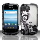 Hard Plastic Snap-On Rubberized Design Case Cover for ZTE Fury - Silver and Black Vines