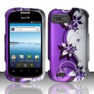 Hard Plastic Snap-On Rubberized Design Case Cover for ZTE Fury - Silver and Purple Vines