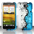 Hard Plastic Rubberized Snap On Design Case for HTC One X/Elite (AT&T) - Silver & Blue Vines