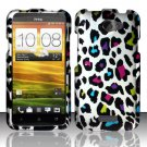 Hard Plastic Rubberized Snap On Design Case for HTC One X/Elite (AT&T) - Rainbow Leopard