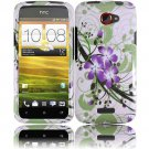 Hard Plastic 2-Piece (Snap On) Design Case for HTC One X/Elite (AT&T) - Green and Purple Lily