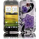 Hard Plastic 2-Piece (Snap On) Design Case for HTC One X/Elite (AT&T) - Violet Lily