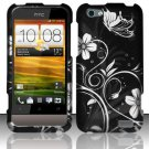 Hard Plastic Rubberized Snap On Design Case for HTC One V (Virgin Mobile) - Midnight Garden