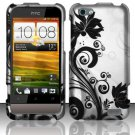 Hard Plastic Rubberized Snap On Design Case for HTC One V (Virgin Mobile) - Silver and Black Vines