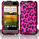 Hard Plastic Rubberized Snap On Design Case for HTC One V (Virgin Mobile) - Hot Pink Leopard