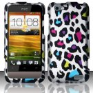 Hard Plastic Rubberized Snap On Design Case for HTC One V (Virgin Mobile) - Rainbow Leopard