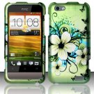 Hard Plastic Rubberized Snap On Design Case for HTC One V (Virgin Mobile) - Green Flowers Butterfly
