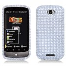 Hard Plastic Bling Diamond Snap On Cover Case for HTC One S/Ville (T-Mobile) - Silver