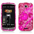 Hard Plastic Bling Diamond Snap On Cover Case for HTC One S/Ville (T-Mobile) - Hearts Flow