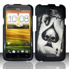 Hard Plastic Rubberized Snap On Design Case for HTC One X/Elite (AT&T) - Ace of Spade Skull