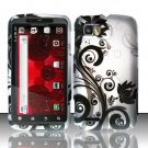 Hard Plastic Rubber Feel Design Case for Motorola Atrix 2 MB865 - Silver and Black Vines