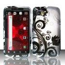 Hard Plastic Rubber Feel Design Case for Motorola Atrix 2 MB865 - Silver and Black Vines