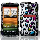 Hard Plastic Rubberized Snap On Design Case for HTC Evo 4G LTE - Rainbow Leopard