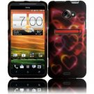 Hard Plastic Rubberized Snap On Design Case for HTC Evo 4G LTE - Rainbow Hearts