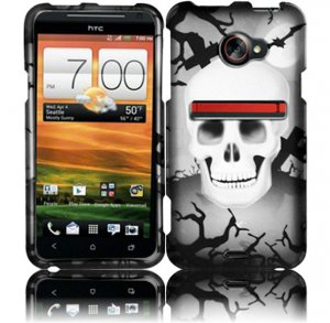 Hard Plastic Rubberized Snap On Design Case for HTC Evo 4G LTE - Cross Skulls