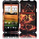 Hard Plastic Rubberized Snap On Design Case for HTC Evo 4G LTE - Gold Hearts