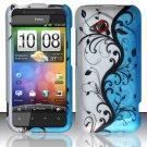 Hard Plastic Rubberized Snap On Design Case for HTC Droid Incredible 4G - Silver & Blue Vines
