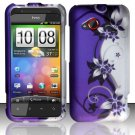Hard Plastic Rubberized Snap On Design Case for HTC Droid Incredible 4G - Silver & Purple Vines