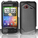 Hard Plastic Rubberized Snap On Design Case for HTC Droid Incredible 4G - Carbon Fiber