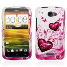 Hard Plastic 2-Piece (Snap On) Design Case for HTC One X/Elite (AT&T) - Hearts and Butterfly