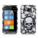 Hard Plastic Rubberized Snap On Design Case for HTC Titan II (AT&T) - White Skulls