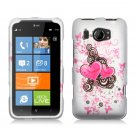 Hard Plastic Rubberized Snap On Design Case for HTC Titan II (AT&T) - Lovely Hearts