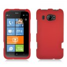 Hard Plastic Rubberized Snap On Cover Case for HTC Titan II (AT&T) - Red