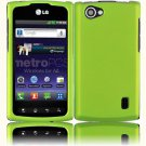 Hard Plastic Rubberized Snap On Cover Case for LG Optimus M Plus - Neon Green