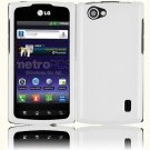 Hard Plastic Rubberized Snap On Cover Case for LG Optimus M Plus - White