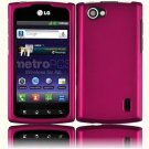 Hard Plastic Rubberized Snap On Cover Case for LG Optimus M Plus - Rose Pink