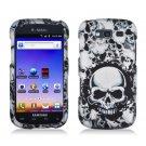 Hard Plastic Snap On Rubberized Design Case for Samsung Galaxy S Blaze 4G - White Skulls