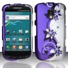 Hard Plastic Snap On Rubberized Design Case for Samsung Galaxy S Aviator - Silver & Purple Vines