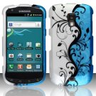 Hard Plastic Snap On Rubberized Design Case for Samsung Galaxy S Aviator - Silver and Blue Vines