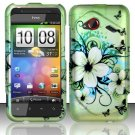 Hard Plastic Rubberized Design Case for HTC Droid Incredible 4G (Verizon) - Flowers & Butterfly