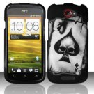Hard Plastic Rubberized Snap On Design Case for HTC One S/Ville (T-Mobile) - Ace of Spade Skull