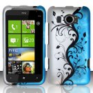 Hard Plastic Rubberized Snap On Design Case for HTC Titan II (AT&T) - Silver & Blue Vines