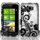 Hard Plastic Rubberized Snap On Design Case for HTC Titan II (AT&T) - Silver & Black Vines