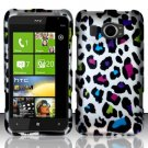 Hard Plastic Rubberized Snap On Design Case for HTC Titan II (AT&T) - Rainbow Leopard